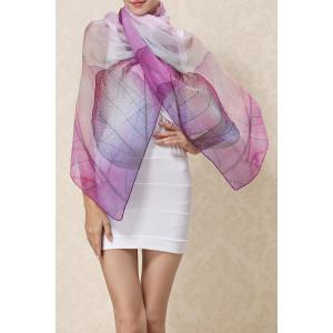 Soft Vivid Leaf Painting Chiffon Pashmina - Purple