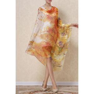Soft Autumn Tree Painting Chiffon Pashmina