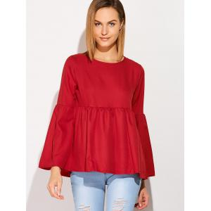 Flare Sleeve Smock T-Shirt - WINE RED XL