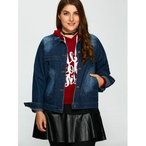 Plus Size Pocket Design Jean Jacket -