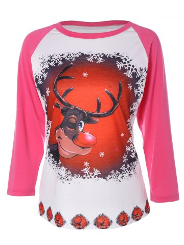 Cheap Elk Print Christmas T-Shirt DEEP PINK 2XL