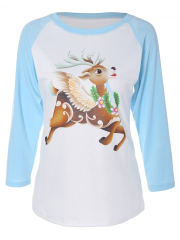 Hot Elk Graphic Raglan Sleeves T-Shirt CLOUDY 2XL