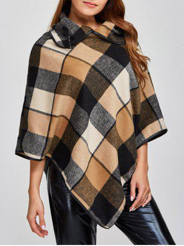 Buy Plaid Asymmetric Pullover Cape Sweater