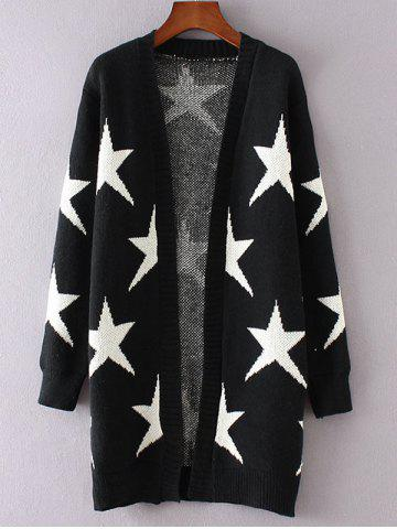 Online Collarless Two-Tone Star Long Cardigan