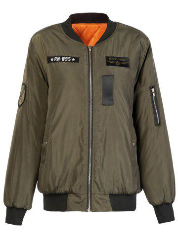 Cheap Letter Plane Pattern Bomber Jacket ARMY GREEN S