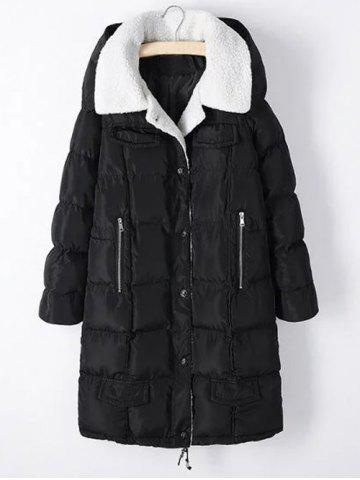 Outfits Plus Size Fleece Hooded Long Padded Coat BLACK 5XL