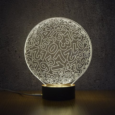 Latest 3D Visual Room Atmosphere Number Ball Shape LED Night Light