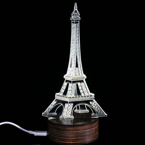 Store 3D Visual Room Atmosphere Eiffel Tower LED Night Light WHITE