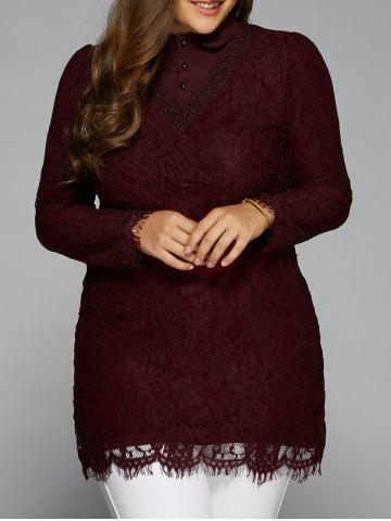 Trendy Splicing Long Sleeve Lace Blouse WINE RED 5XL