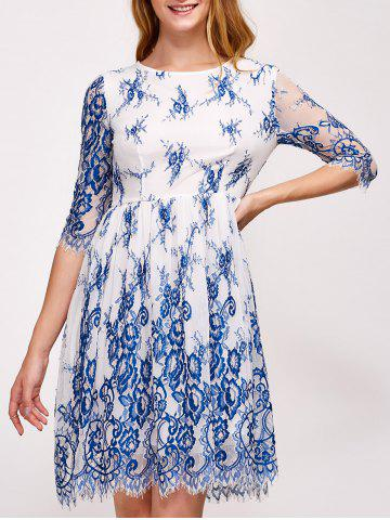 Cheap Floral Embroidery Wave Cut Lace Swing Dress