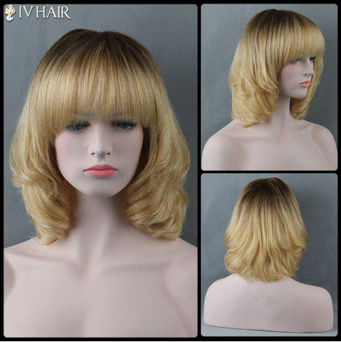 Shop Medium Full Bang Curly Siv Human Hair Wig COLORMIX