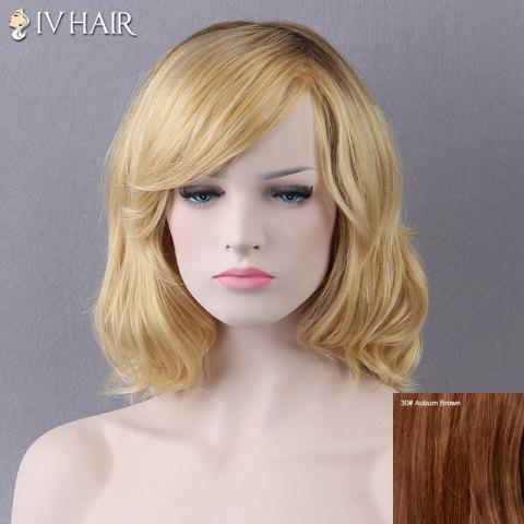 Outfits Short Side Bang Slightly Curled Siv Human Hair Wig AUBURN BROWN #30