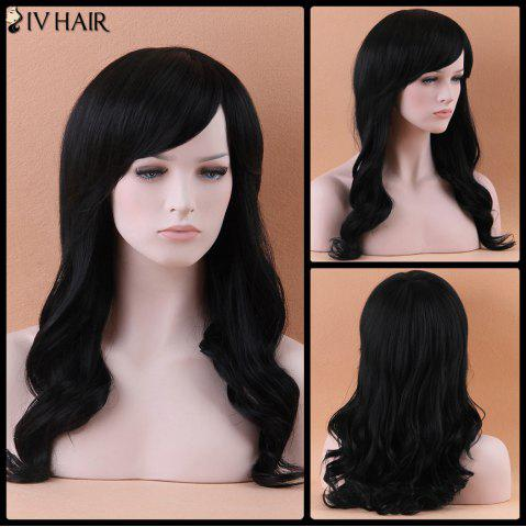 Discount Fascinating Long Side Bang Wavy Siv Human Hair Wig JET BLACK 01#