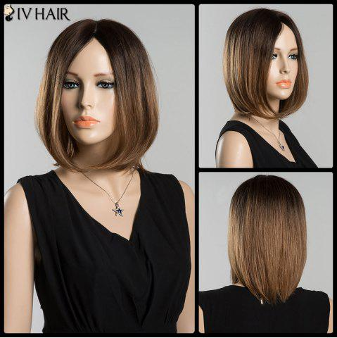 Outfit Mixed Color Short Bob Centre Parting Straight Siv Human Hair Wig COLORMIX