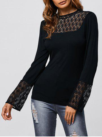Hot Flare Sleeve Lace Trim Tee