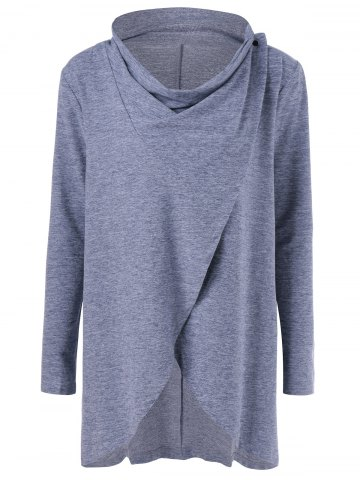 Outfits Cowl Neck Heather Overlap Tee GRAY M