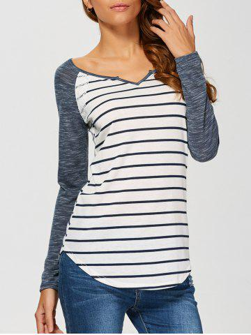 Online Heather Sleeve Striped Tee