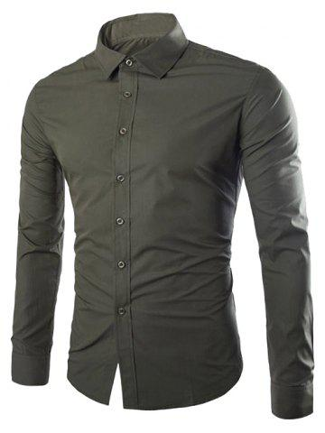 Online Single Breasted Shirt Collar Long Sleeve Shirt ARMY GREEN XL