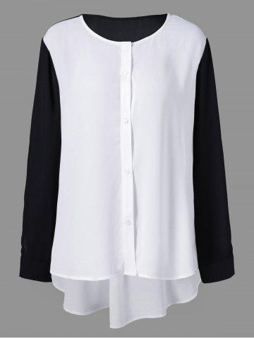 Latest Plus Size High Low Button Down Blouse WHITE AND BLACK 5XL