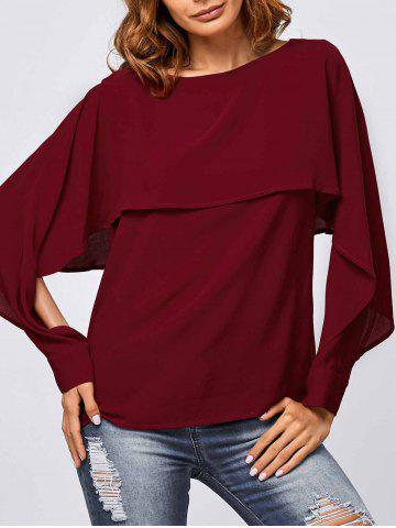 Fancy Slit Sleeve Overlay Blouse