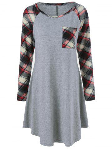 Plaid Trim Single Pocket Tee Dress - Gray - L