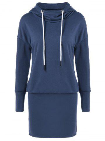 Sale Drop Shoulder Sheath Hooded Dress