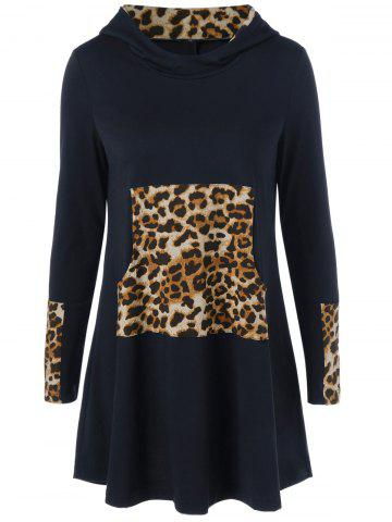 Affordable Long Sleeve Leopard Kangaroo Pocket Hooded Dress BLACK XL