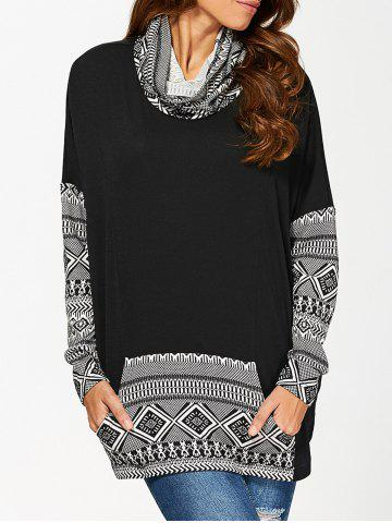 Unique Cowl Neck Kangaroo Pocket Pullover - L WHITE AND BLACK Mobile
