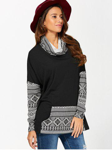 Discount Cowl Neck Kangaroo Pocket Pullover - L WHITE AND BLACK Mobile