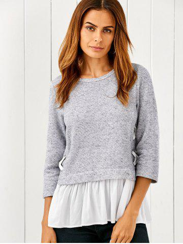 Buy Lace Up Flounced Pullover