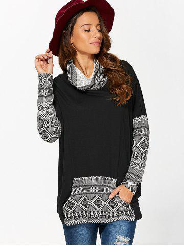 Discount Cowl Neck Kangaroo Pocket Pullover - XL WHITE AND BLACK Mobile