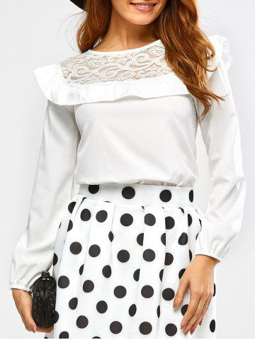 Fashion Flounce Lace Insert Blouse WHITE XL