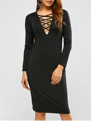 Outfit Long Sleeve Lace-Up Sheath Dresses