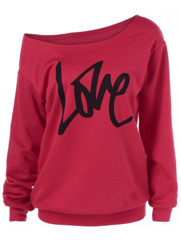 Fancy Love Skew Collar Sweatshirt RED XL