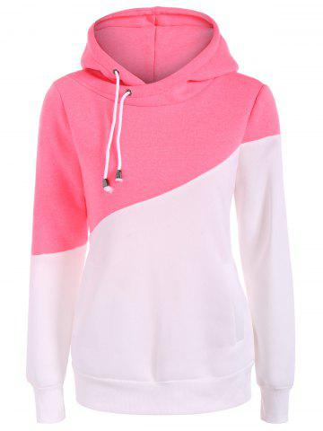 Outfits Drawstring Color Block Pullover Hoodie PINK 2XL