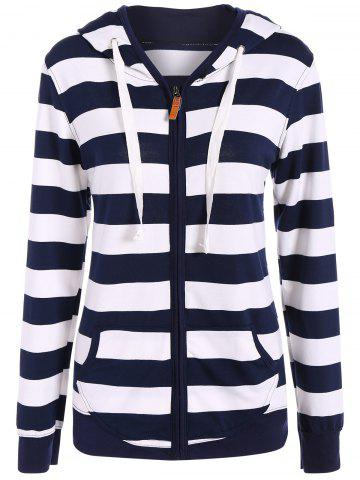 Affordable Zip Up Drawstring Striped Hoodie NAVY BLUE XL