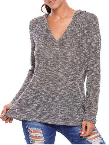 Discount Hooded Heathered Loose Knitwear GRAY L