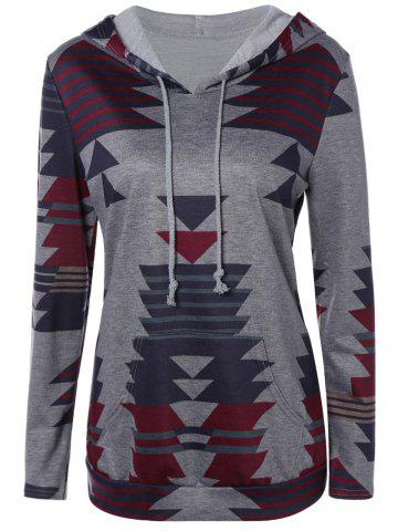 Chic Geometric String Loose Hoodie - 3XL GRAY Mobile