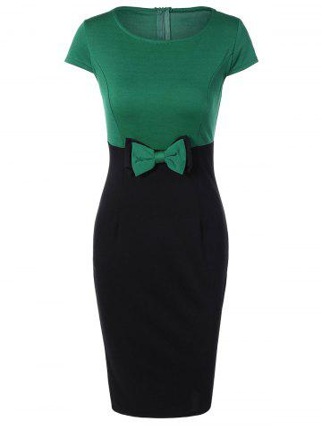 Latest Two Tone Pencil Work Dress with Bowknot GREEN L