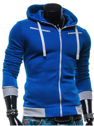 Buy Color Splicing Zippered Drawstring Hoodie - BLUE M Mobile