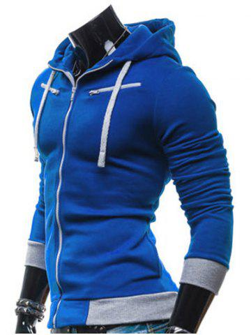 Hot Color Splicing Zippered Drawstring Hoodie - BLUE M Mobile