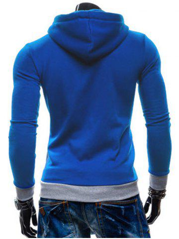 Fashion Color Splicing Zippered Drawstring Hoodie - BLUE M Mobile