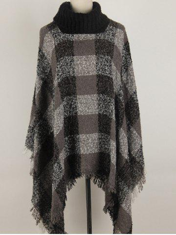 Hot Turtleneck Fringed Asymmetric Pullover Cape Sweater