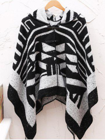 Buy Hooded Asymmetric Geometric Pullover Wool Cape BLACK ONE SIZE
