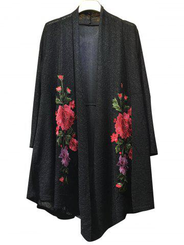 Outfits Floral Embroidered Knitted Long Sleeve Kimono Cardigan BLACK 3XL