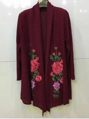 Sale Floral Embroidered Knitted Long Sleeve Kimono Cardigan BURGUNDY 2XL