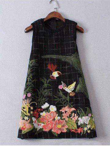 New Sleeveless Floral Embroidered Mini Wool Dress