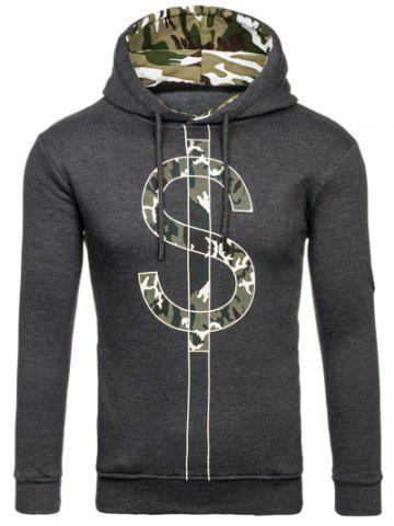 Outfit Camouflage Splicing Dollar Symbol Print Hoodie DEEP GRAY 2XL