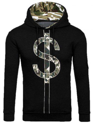Outfit Camouflage Splicing Dollar Symbol Print Hoodie BLACK M