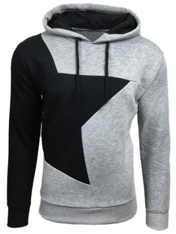 Fashion Color Block Star Splicing Hoodie - M LIGHT GRAY Mobile